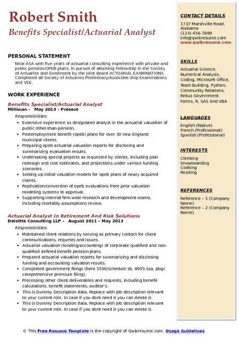 Actuarial Consultant Resume Actuarial Analyst Resume Sles Qwikresume