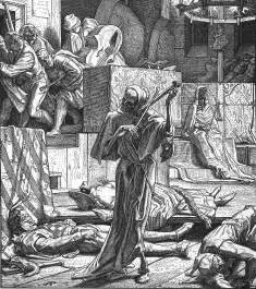 Death as a cutthroat engraved by alfred rethel in 1851