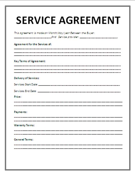 agreement to provide services template service agreement template agreement sle templates