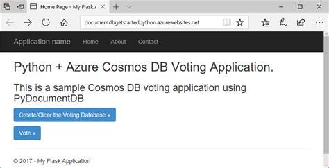tutorial python flask python flask web application tutorial for azure cosmos db