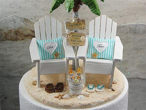 base attached beach sign beverage wedding cake topper