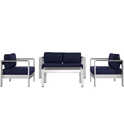 shore 4 outdoor patio aluminum sectional sofa set