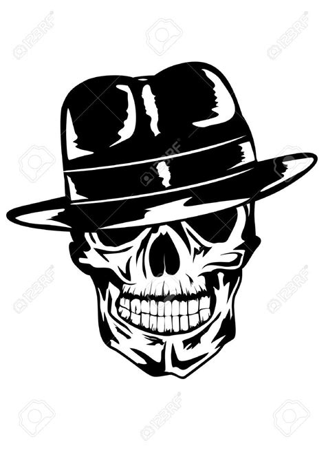 skull with hat tattoo designs simple gangster skull stencil stencil