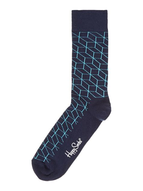 Printed Socks happy socks printed ankle sock in black for lyst