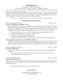 Resume Professional Exles by Free Consumer Lending Professional Resume Exle