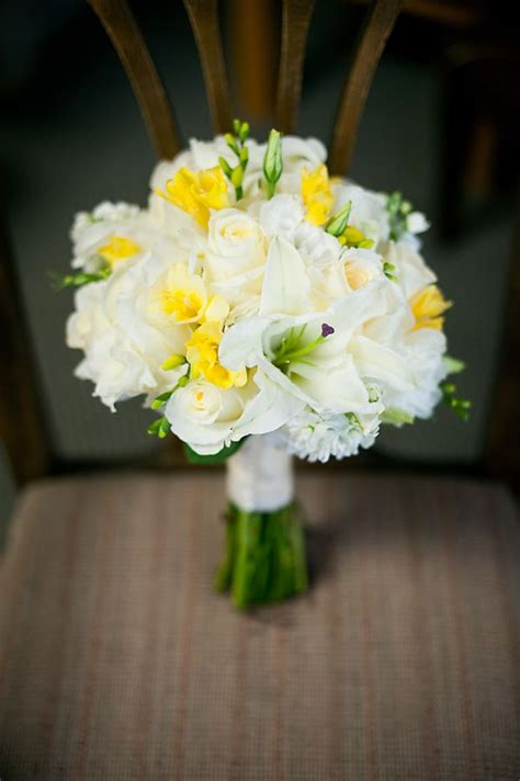 white yellow bouquet it but t use freesia or lilies due to allergies wedding