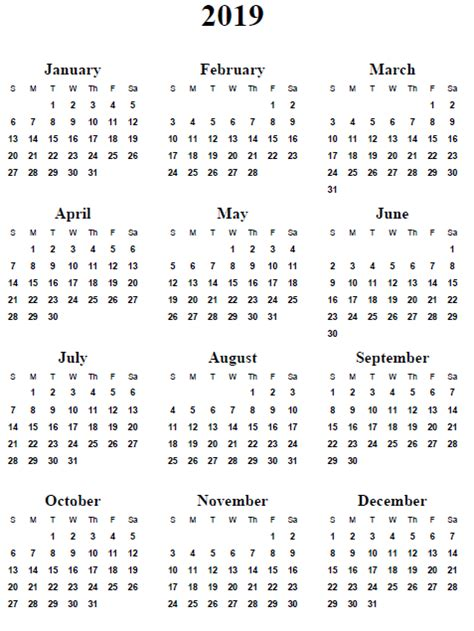 2019 Calendar Word 2018 Calendar Printable 2019 Calendar Template Word