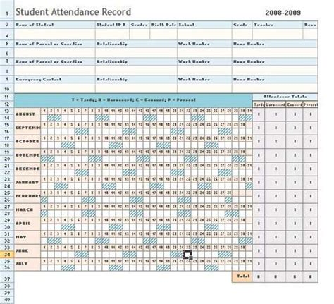 attendance sheet excel template daily microsoft