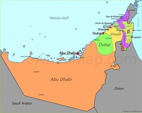 map abu dhabi and dubai uae map map of united arab emirates annamap