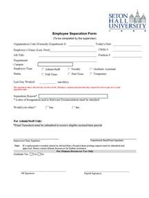 Employment Separation Certificate Template Employment Separation Letter Template