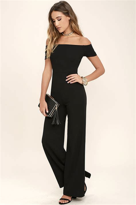 Jumpsuit Hitam Pendek black jumpsuit the shoulder jumpsuit wide leg