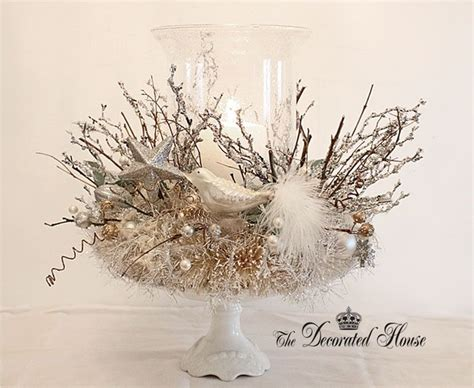 white silver christmas centerpiece holidays pinterest