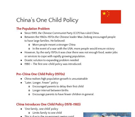 One Child Policy China Essay by Notes On China S One Child Policy A Level Geography Marked By Teachers