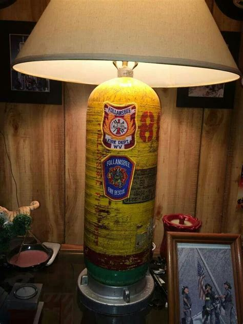 firefighter home decor diy firefighter idea reuse and recycle that old scba bottle and turn it into a l fire