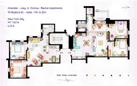 apartment blueprints floor plans of homes from famous tv shows