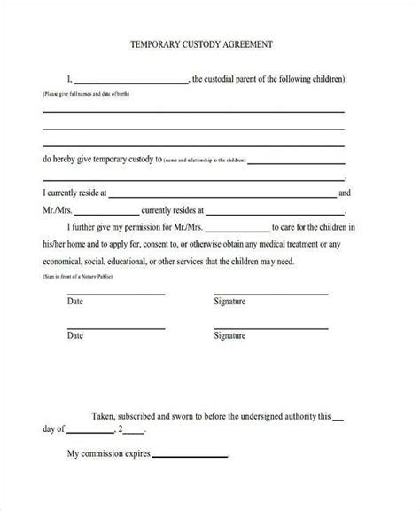 child visitation agreement template notarized custody agreement template world of letter