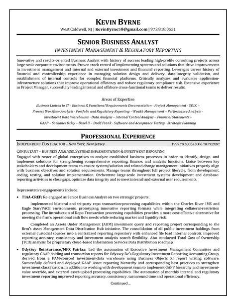 cover letter exle business analyst resume exle of business financial analyst resume