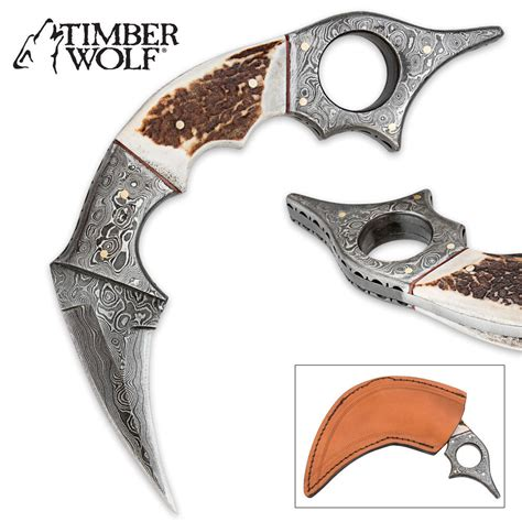 stag horn knife timber wolf damascus steel and stag horn karambit knife