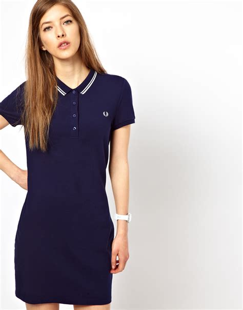 Polo Shirt Kaos Polo Fred Perry lyst fred perry tipped polo shirt dress in blue