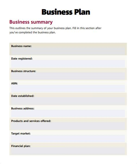 Exle Simple Business Plan Business Plan Template Web Based Business Plan Template