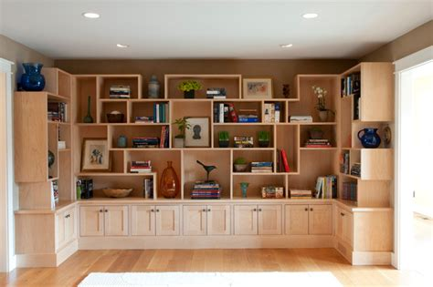 Home Library Design Houzz Library Cabinetry Millwork Contemporary Living Room