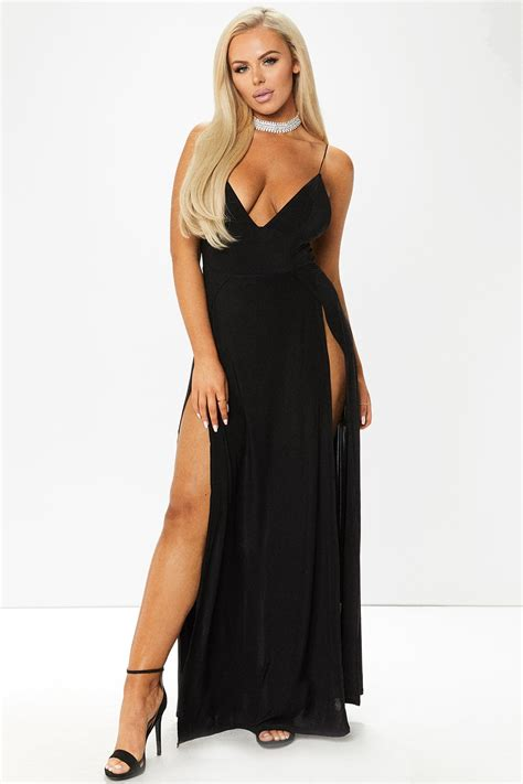 maxi dress 2 black front leg slit maxi dress