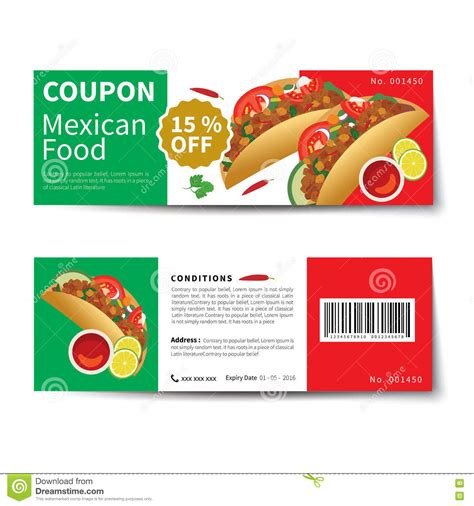 mexican food coupon discount template flat design stock