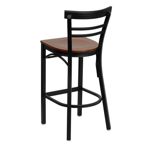 Metal Bar Stool With Back Black Ladder Back Metal Restaurant Barstool With Cherry Wood Seat Bfdh 6145cwbarlad