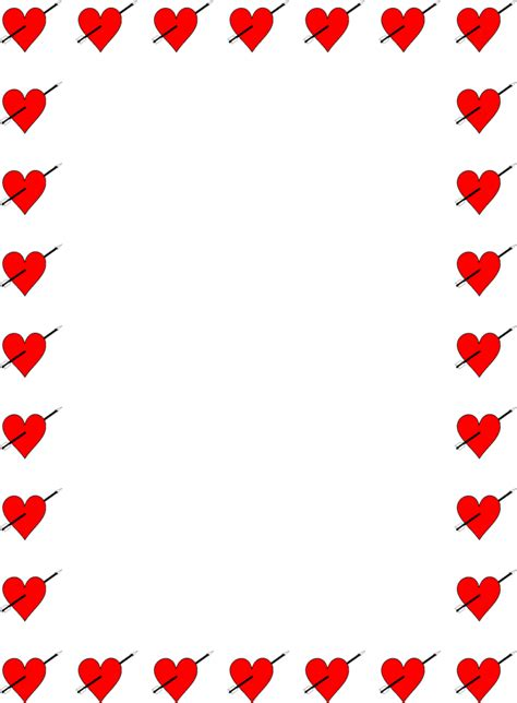 free printable valentine stationary borders heart border clip art cliparts co