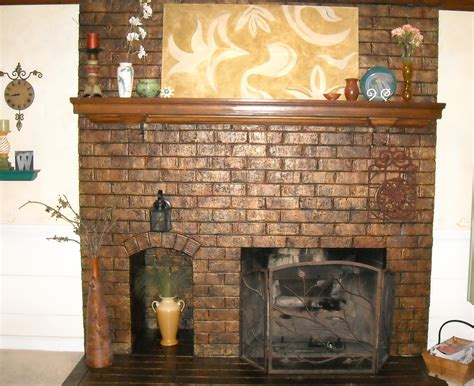 brick fireplace architectural treatments living room
