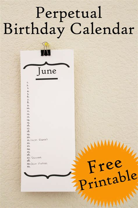 perpetual birthday calendar template perpetual birthday calendar do it and how