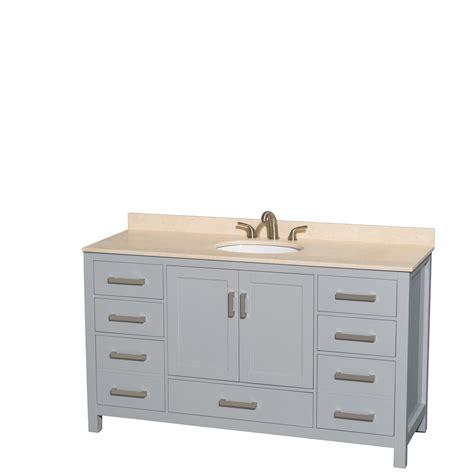 Bathroom Vanities No Sink Wyndham Collection 60 Inch Single Bathroom Vanity In Gray Ivory Marble Countertop Undermount