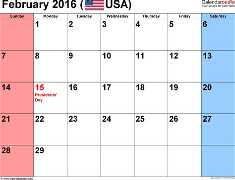 Calendar 2016 February February 2016 Calendars For Word Excel Pdf