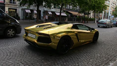 gold convertible lamborghini gold saudi lamborghini aventador roadster in paris youtube