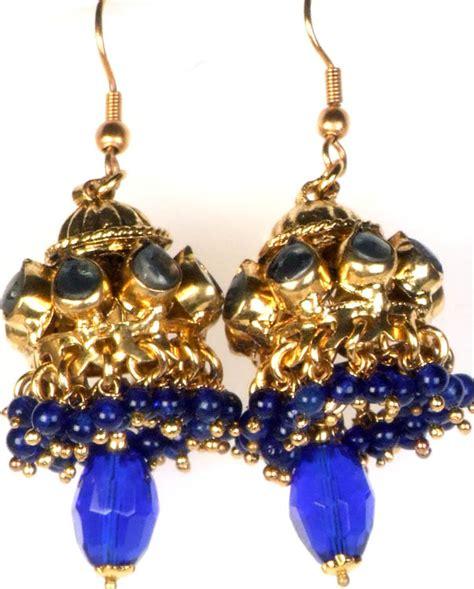 Royal Blue Chandelier Earrings Royal Blue Kundan Chandelier Earrings