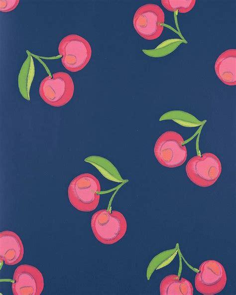 wallpaper pink navy navy and pink cherries wallpaper