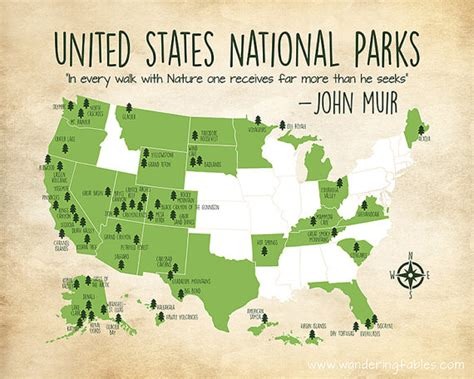 map of all national parks in the united states national parks map custom colors united states map with all