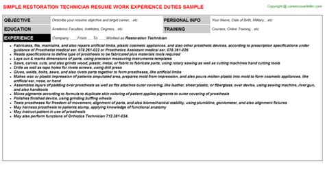 Restoration Technician Sle Resume by Cover Letter For Zoo Curator Cover Letter Templates