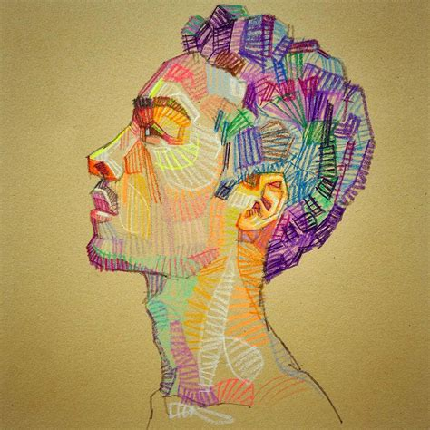 colorful drawing prismatic sketches of and faces by lui ferreyra
