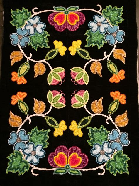 beadwork floral ojibwe floral dress panel metis beadwork