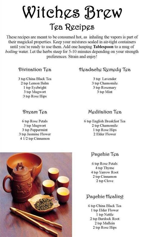 printable homebrew recipes witches brew tea recipes my book of shadows white