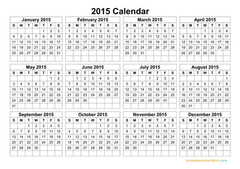 60 best 2015 yearly calendar templates to download print free