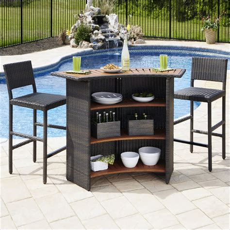 Cast Aluminum Patio Furniture Sets Home Styles Riviera Outdr Woven Amp Two Stools Set Brown