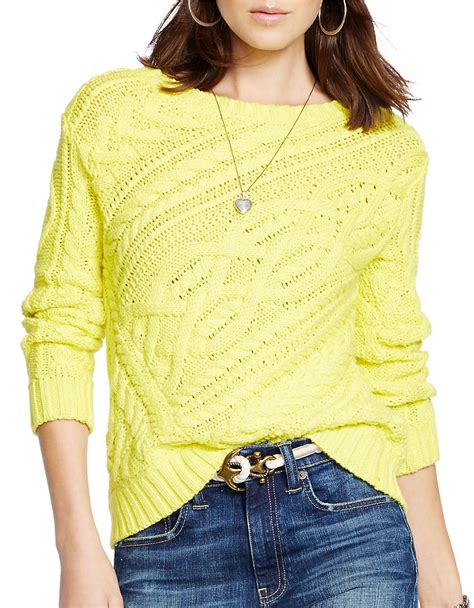 knit cotton sweater polo ralph cable knit cotton sweater in yellow lyst
