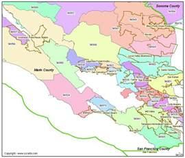 san rafael ca zip codes marin county zip code boundary map