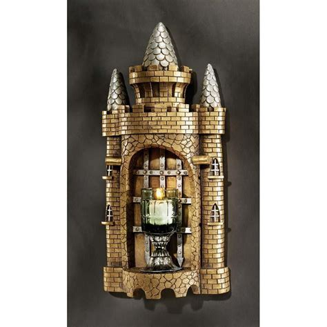 sculpture home decor gothic castle turret wall shelf sculpture medieval home