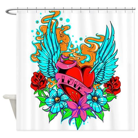 new tattoo and showering tattoo heart1 shower curtain by funimages101