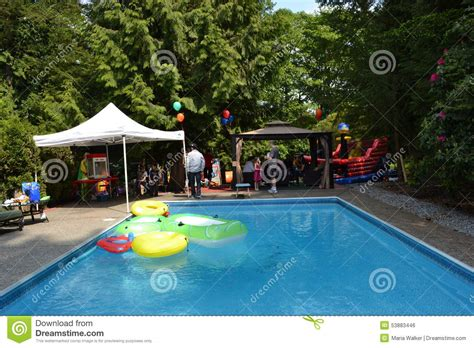 backyard pool party pool party editorial photo image 53883446