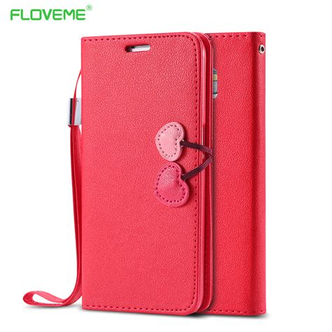 Iphone 5 5s Se Luxury Wallet Pu Leather Flip Cover Stand aliexpress buy luxury cherry series pu leather for iphone 5 5s se 5c 4 4s flip cover