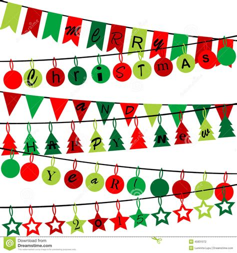 new year bunting vector decorative bunting with merry and happy new year